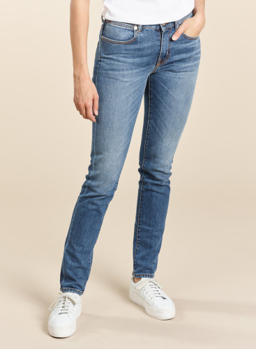 Stone Washed Denim Slim Jeans