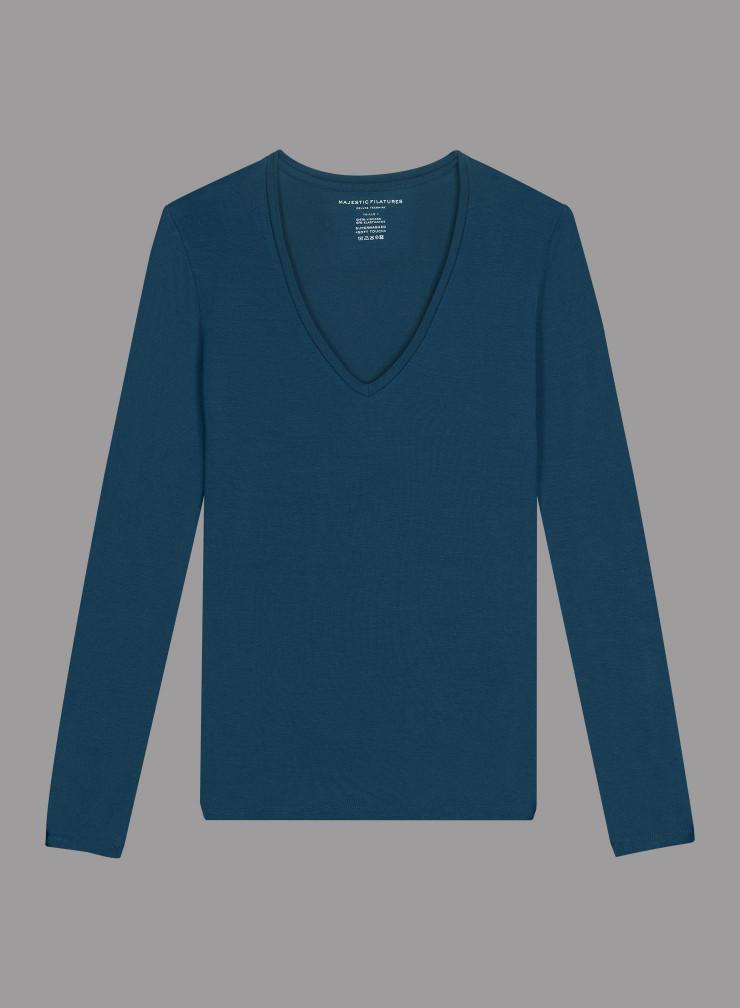 Ribbed V-neck T-shirt