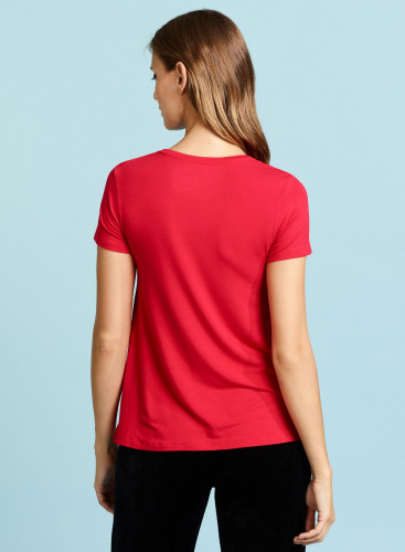 Flared round neck T-shirt