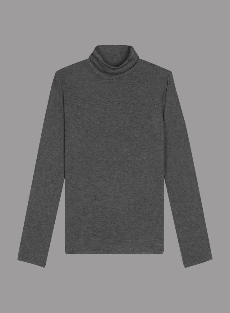 T-shirt col roulé pli creux au dos