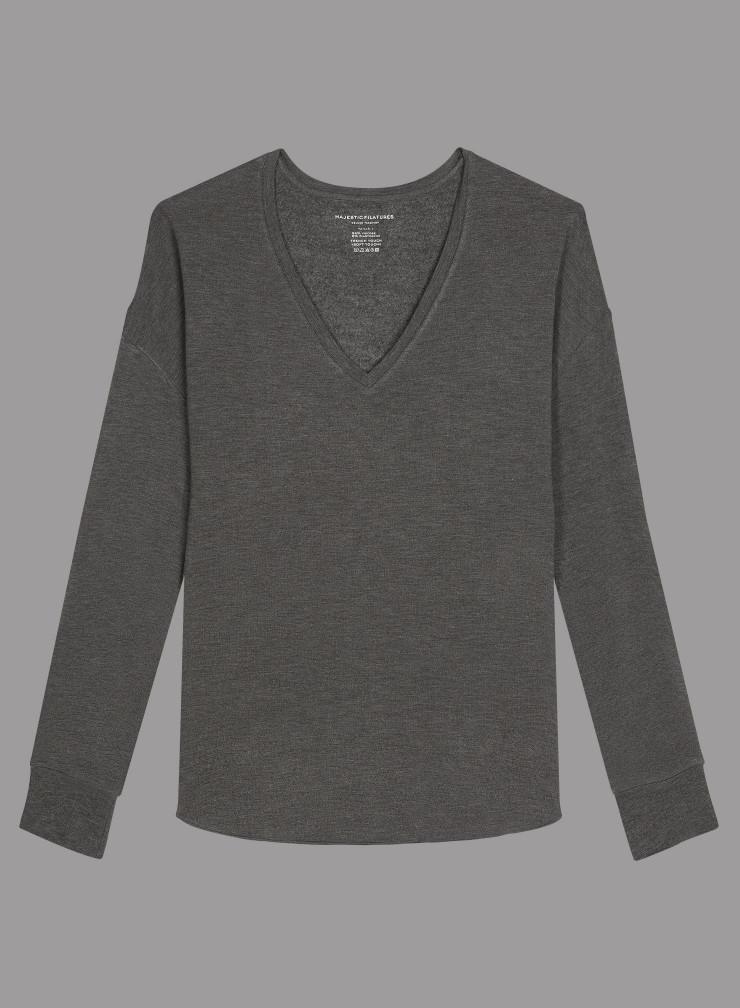 T-shirt col V côtelé molleton