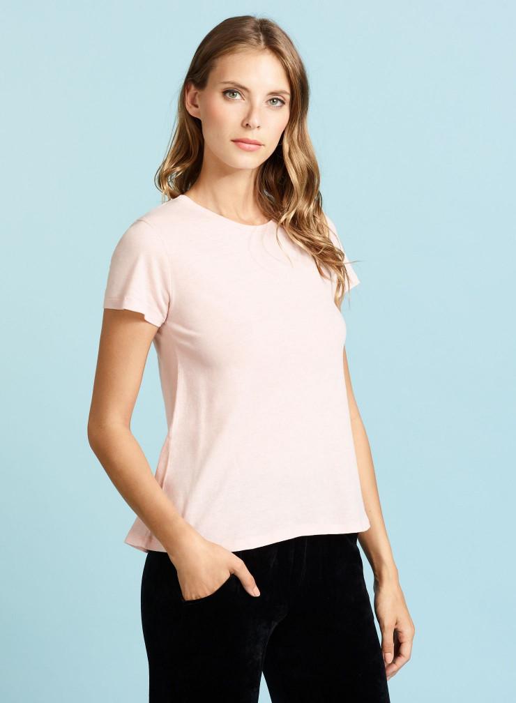 Flared round neck T-shirt