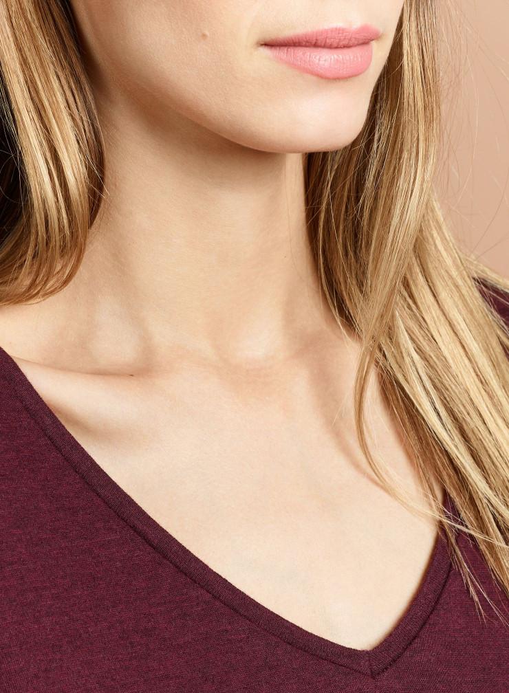 Double face V-neck t-shirt