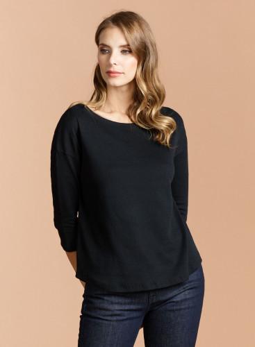 Double face oversized sailor neck T-shirt
