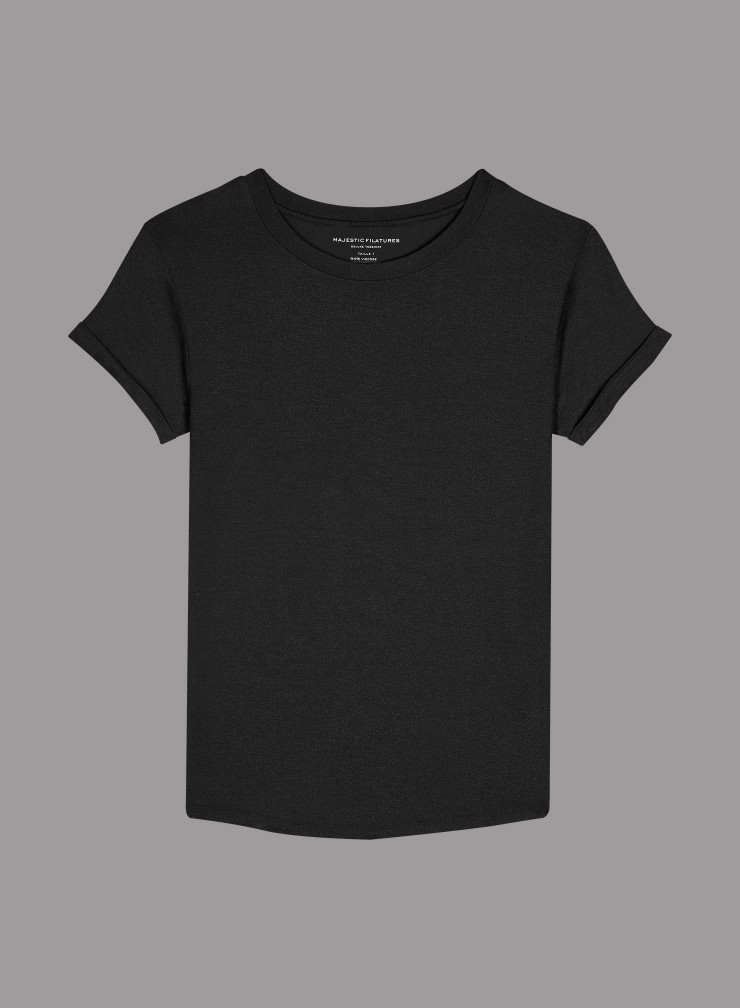 Metallized round neck cuffed short sleeve T-shirt