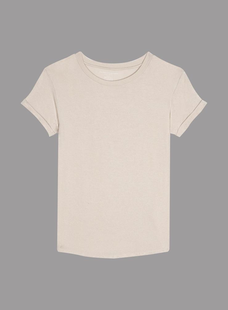 Metallized round neck cuffed short sleeve T-shirt
