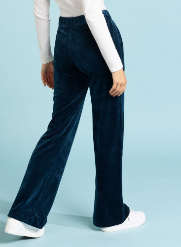 Pantalon velours ras coupe large
