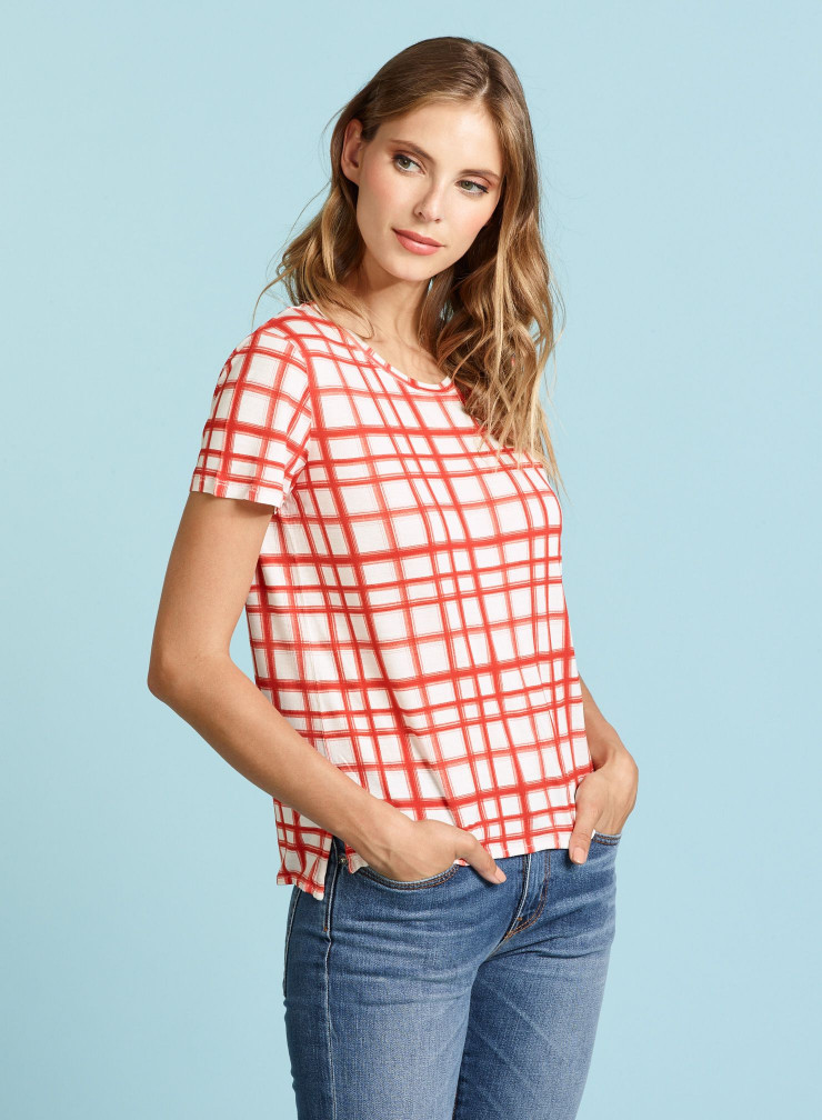 T-shirt col rond à carreaux