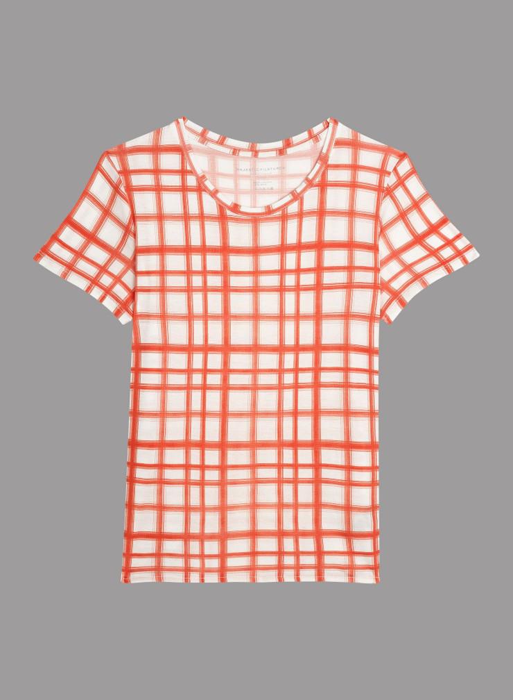 Check round neck T-shirt