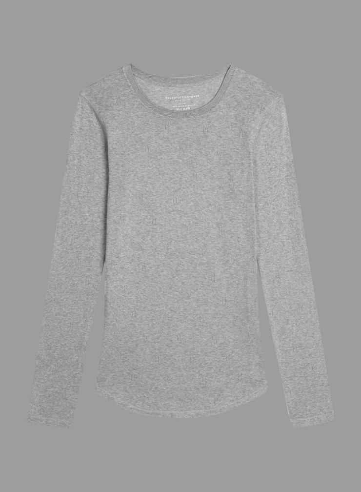 """""""M"""" hemstitched round neck T-shirt"""
