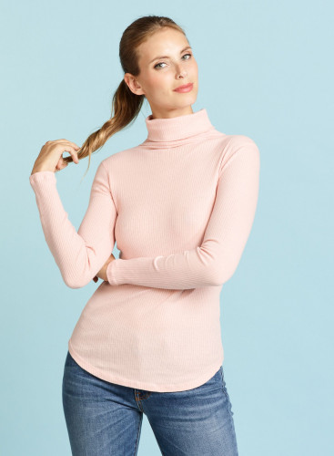 Turtleneck ribbed T-shirt