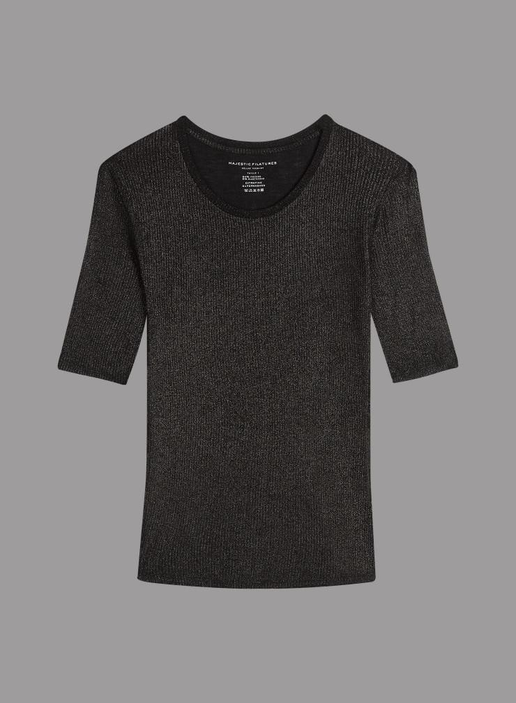 T-shirt col rond côtelé métallisé