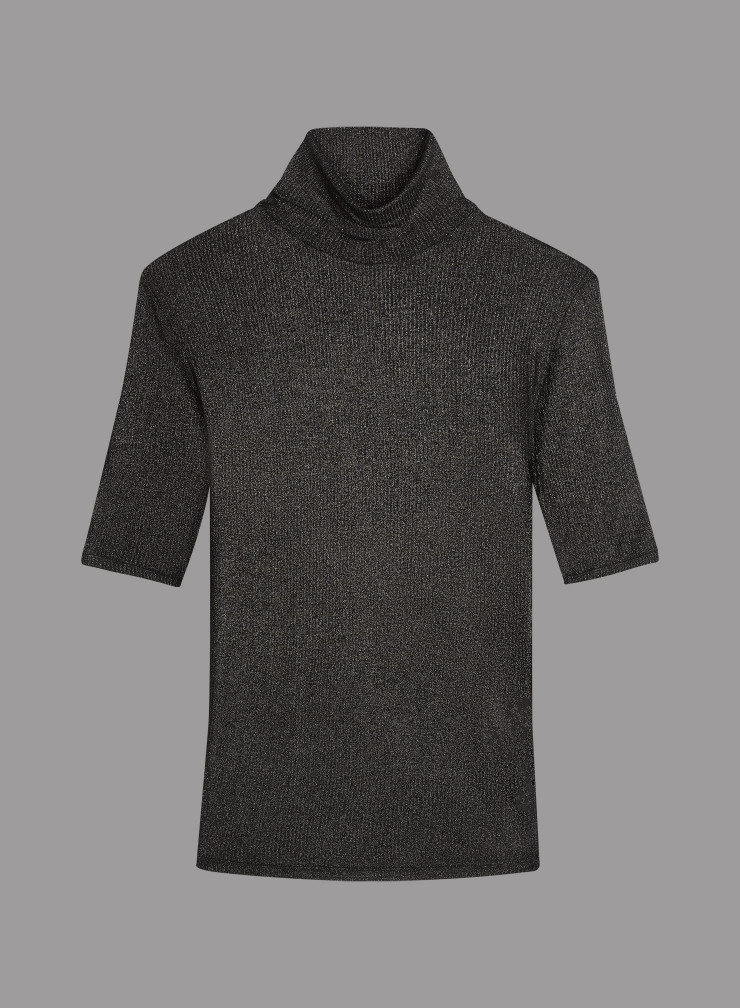 T-shirt col roulé côtelé métallisé