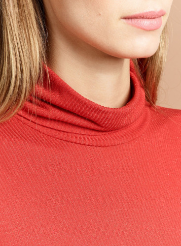 Metallized ribbed Turtleneck T-shirt