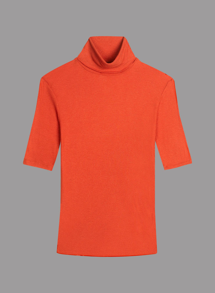 Metallized ribbed Turtleneck T-shirt