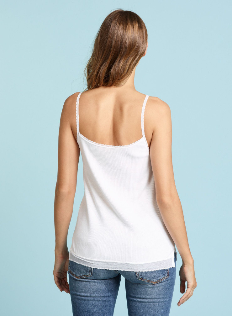 Ribbed Tank top with lace finish