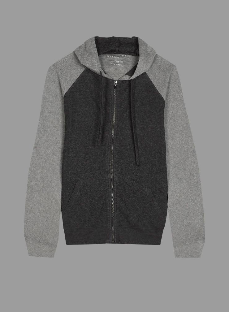 Sweat à capuche zippé bicolore