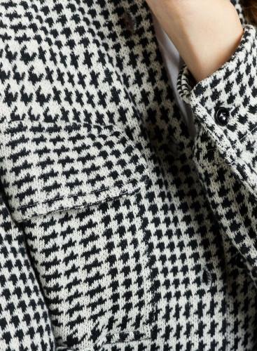 Chemise à carreaux motif pied-de-poule