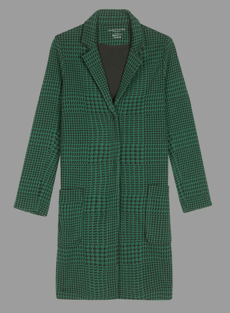 Mid-season check and handstooth pattern Coat