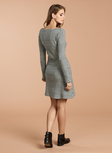 Check and handstooth pattern sailor neck Dress