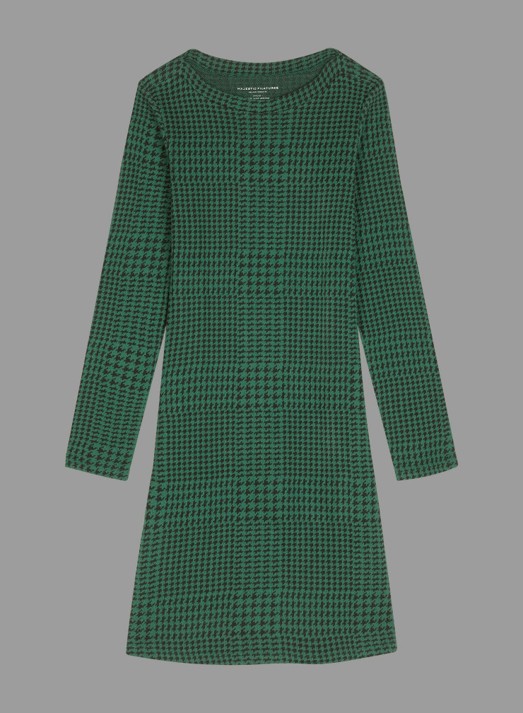 Mid-season check and handstooth pattern sailor neck Dress