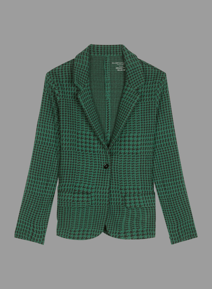 Check and handstooth pattern 1 button Jacket