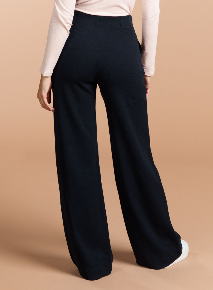 Pantalon large double face uni