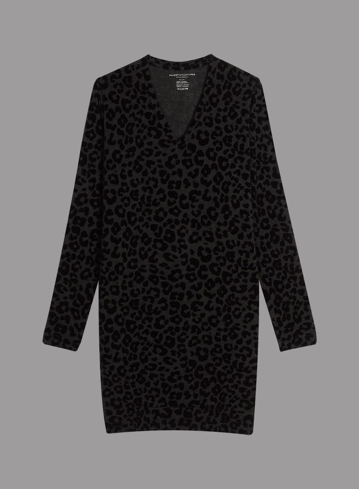 Velvet panther pattern short Dress