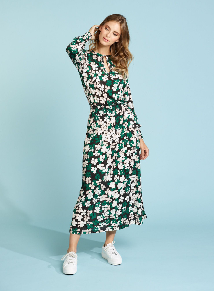 Mid-length four-leaf clover printed Dress