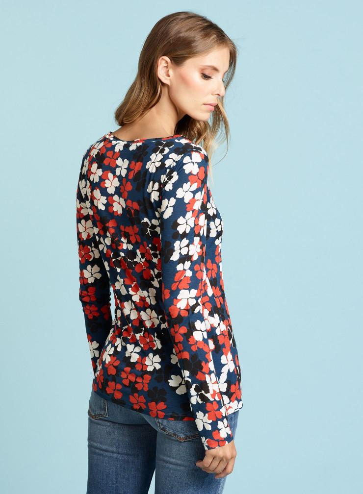 Sailor neck four-leaf clover T-shirt