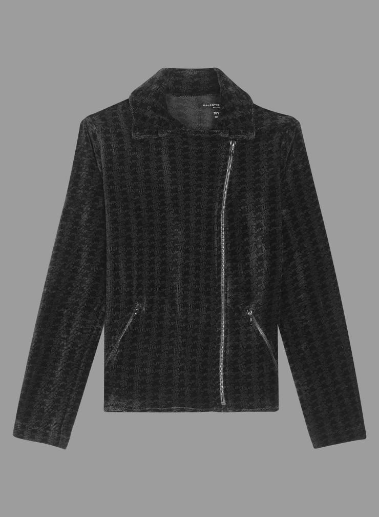 Velvet houndstooth asymmetrical zip Jacket