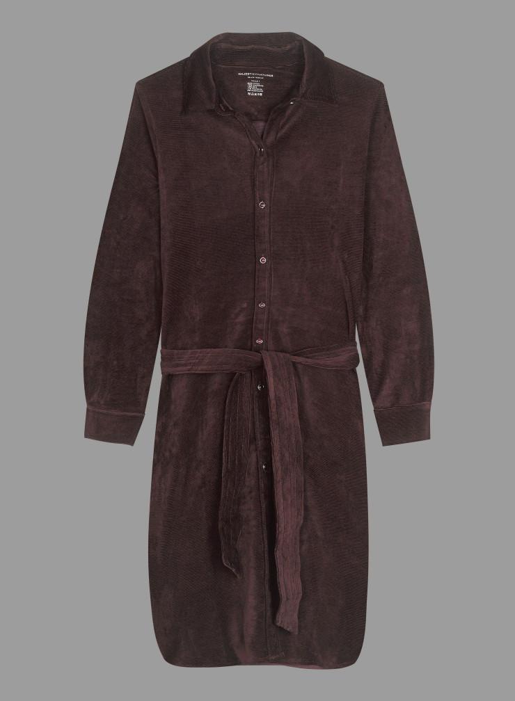 Robe chemise velours côtelé