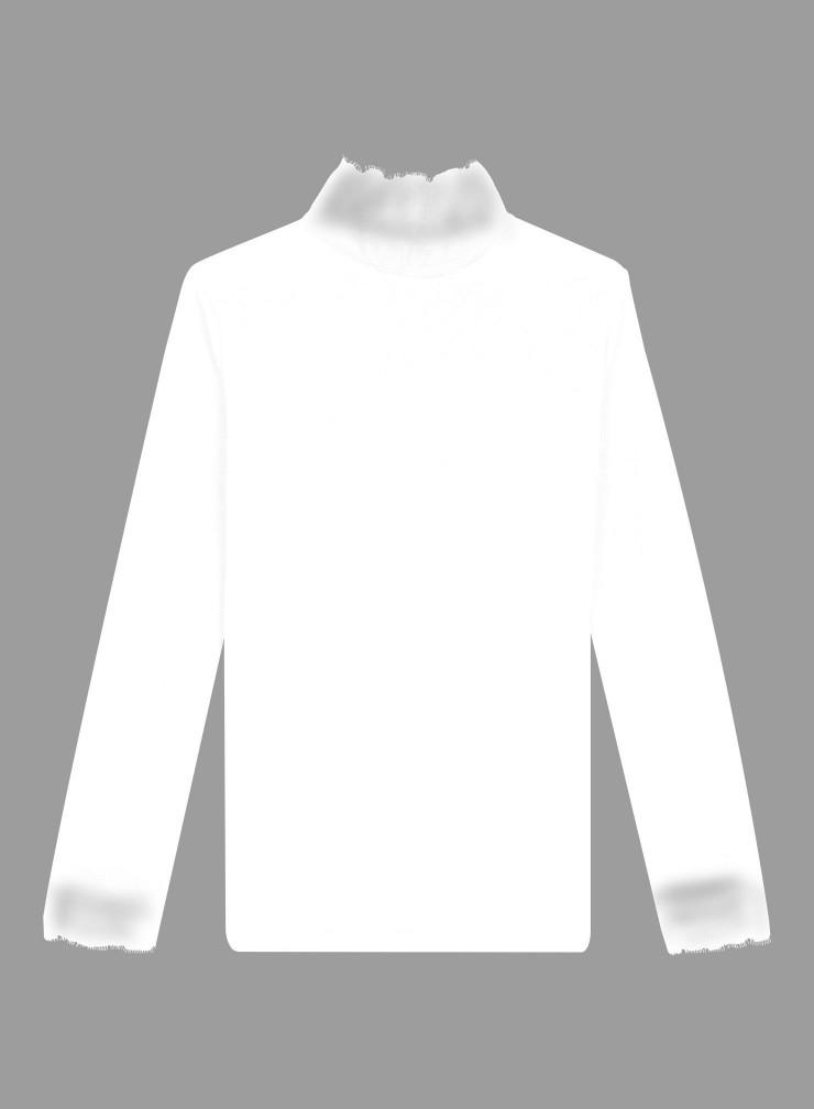 T-shirt col montant dentelle et boutonné dos