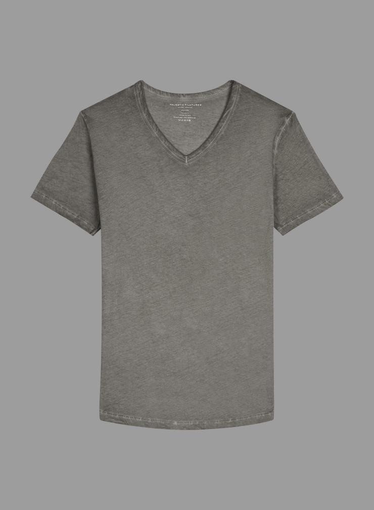 T-shirt col V teinture artisanale