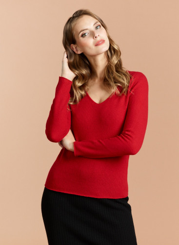 V-neck Eco Cashmere sharp edge Sweater