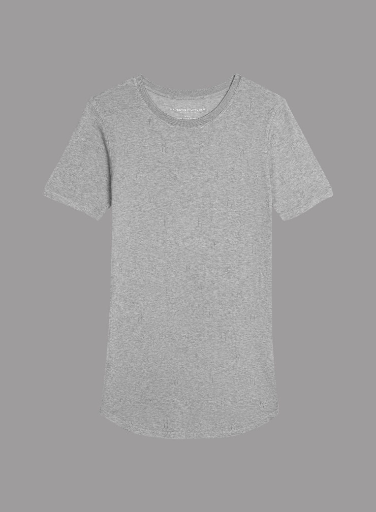 """M"" hemstitched round neck T-shirt"