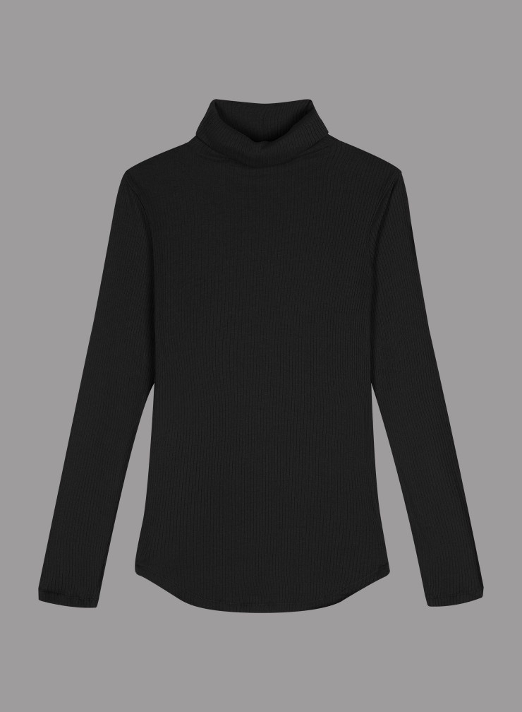 U-neck ribbed T-shirt