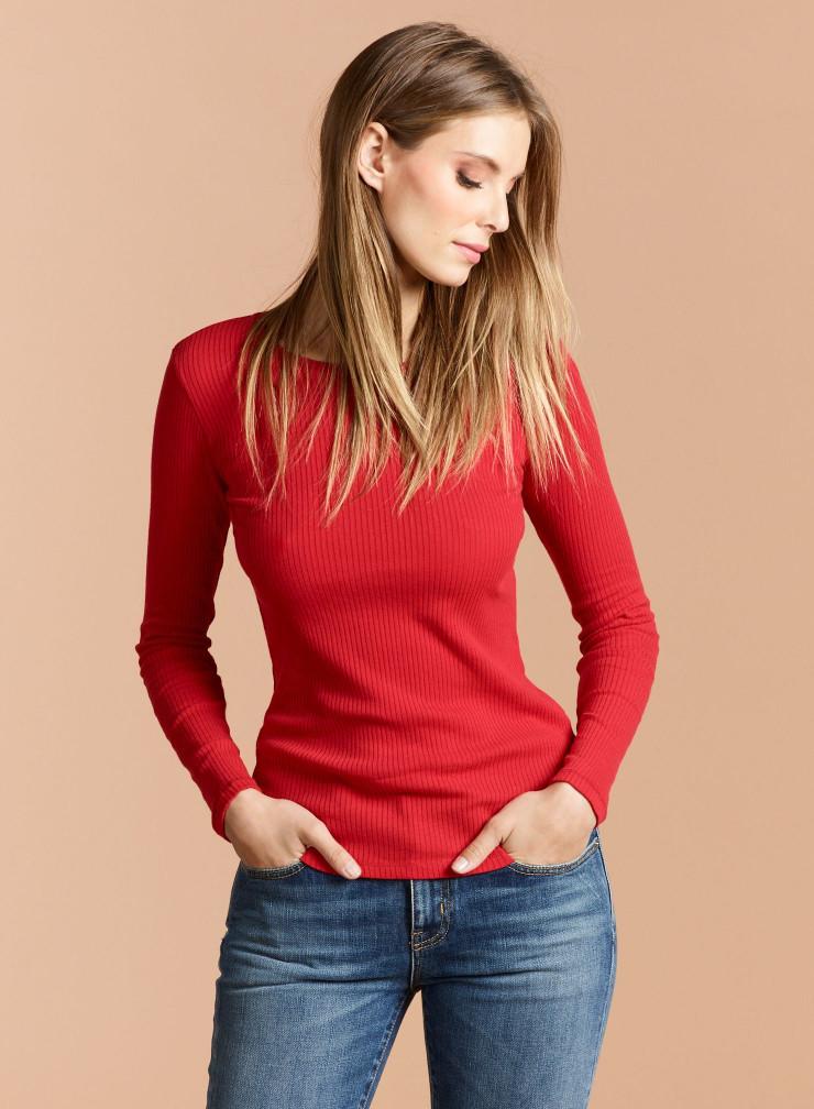 T-shirt col rond côtelé