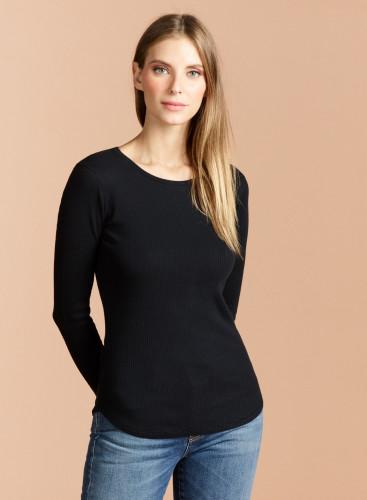 Round neck ribbed T-shirt