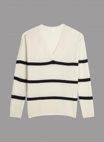 V-neck oversized striped Sweater