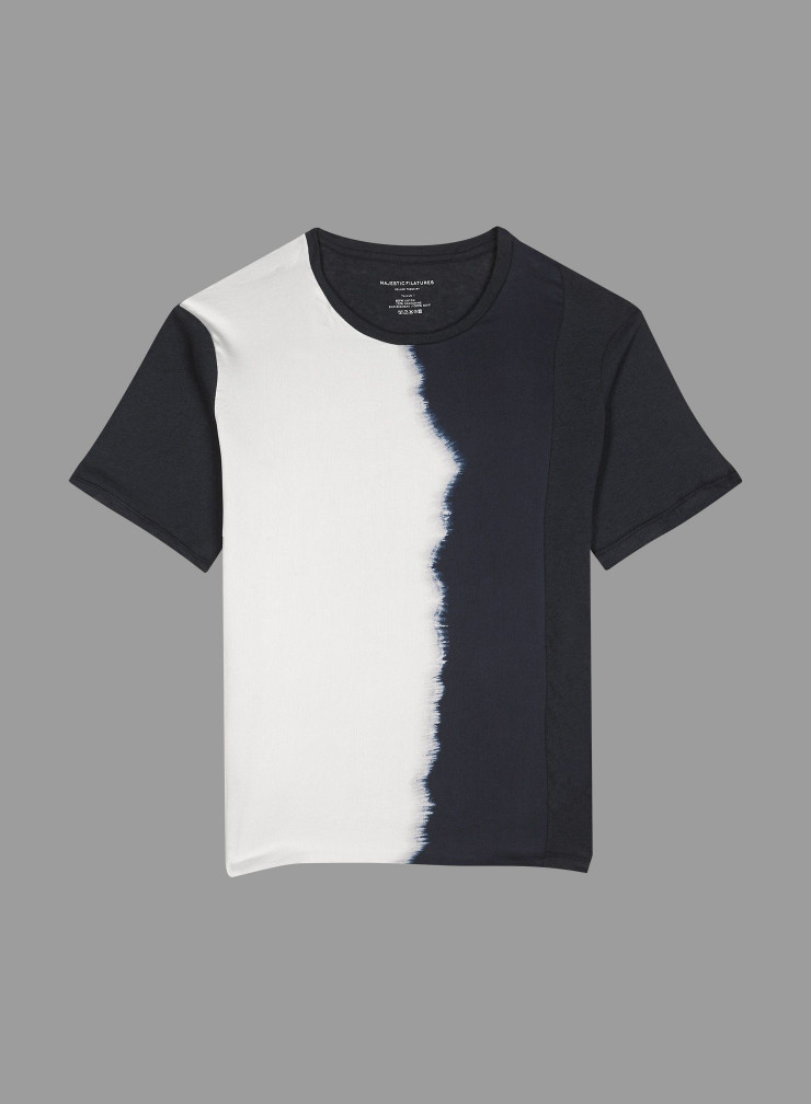 T-shirt col rond empiècement soie tie and dye