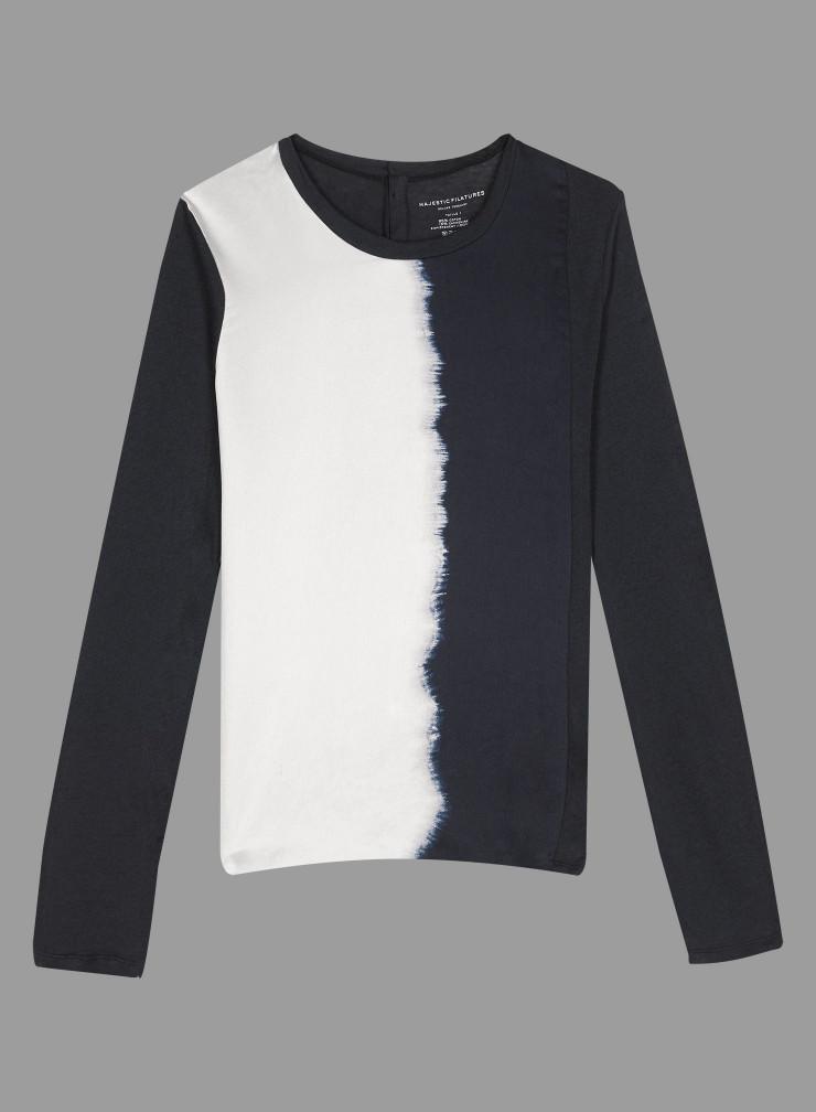 T-shirt col rond boutonné dos empiècement soie tie and dye