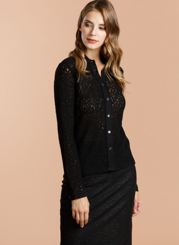 Leopard Shirt with woolen lace insert