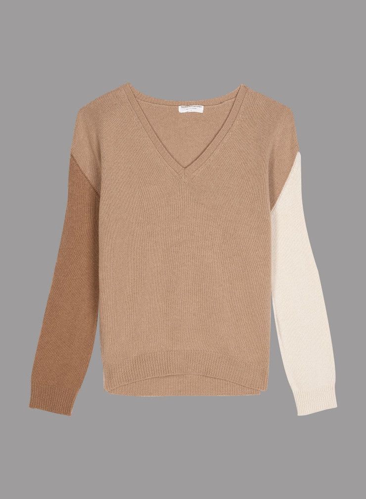 V-neck tricolor loose Sweater