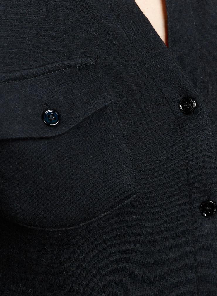 Button V-neck double face Blouse