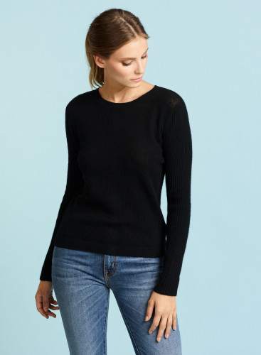 Round neck buttonned back short Sweater