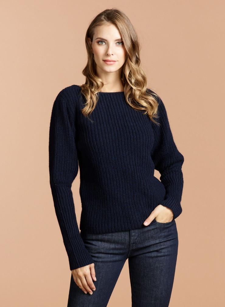 Sailor neck  leg-of-mutton sleeve Sweater