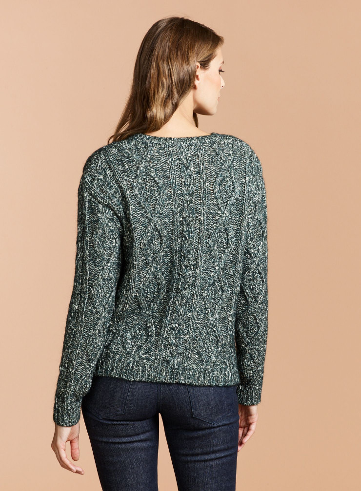 V-neck twisted mesh Sweater