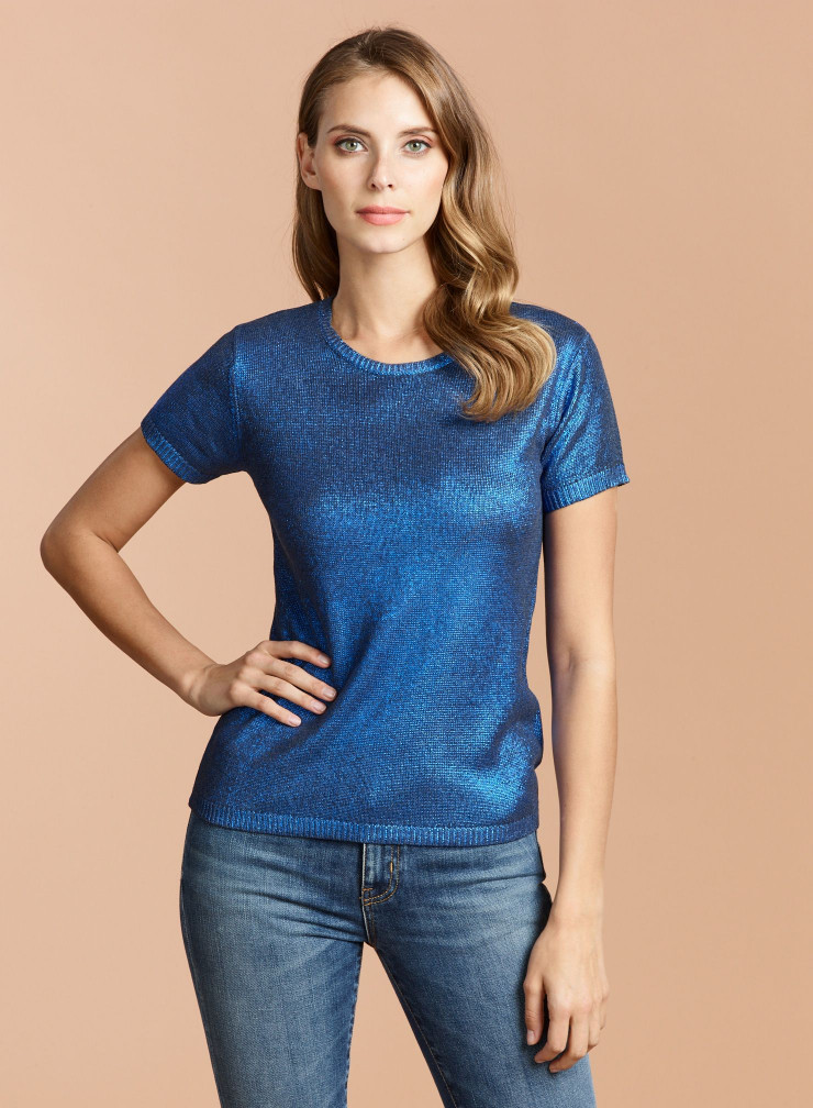 Round neck short sleeve metallized Sweater