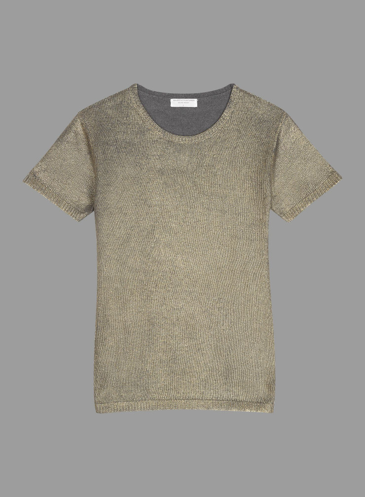 Round neck short sleeve metallized Sweater
